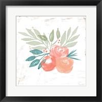 Framed Coral Rose Bouquet II