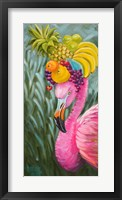 Framed Flamingo with Fruit Baskets