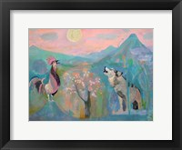 Framed Wolf and the Rooster Sing by Moonlight