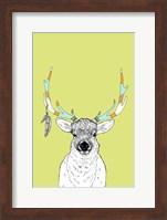 Framed Elk & Feathers