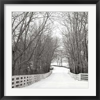 Framed Country Lane in Winter