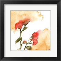 Framed Watercolor Floral Yellow and Red II