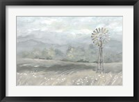 Framed Country Meadow Windmill Landscape Neutral