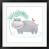 Framed Playful Pals- Hippo