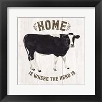 Framed Farm Life Cow Home Herd