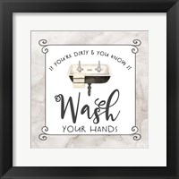 Framed Bath Humor Wash Your Hands