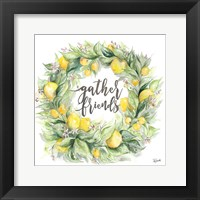 Framed Watercolor Lemon Wreath Gather Friends