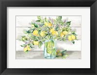 Framed Watercolor Lemons in Mason Jar Landscape