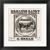Framed Farmhouse Grain Sack Label Cow