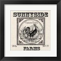 Framed Farmhouse Grain Sack Label Rooster