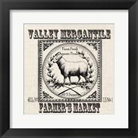 Framed Farmhouse Grain Sack Label Sheep