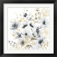 Framed Watercolor Gray and Gold Floral