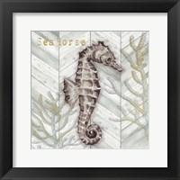 Framed Gray Gold Chevron Seahorse