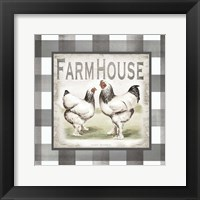 Framed Buffalo Check Farm House Chickens Neutral I