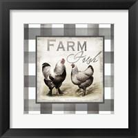 Framed Buffalo Check Farm House Chickens Neutral II