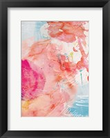 Framed Abstract Turquoise Pink No. 1