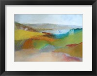 Framed Green, Yellow and Rose Landscape