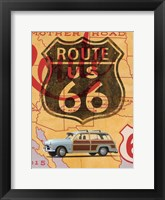 Framed Route 66 Vintage Postcard