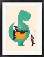 Framed TRex and the Basketful of Wiener Dogs