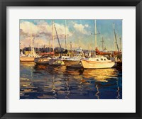 Framed Boats on Glassy Harbor