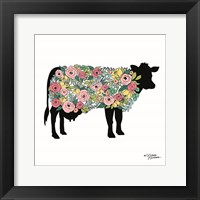 Framed Floral Cow