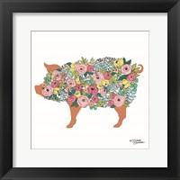 Framed Floral Pig