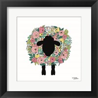 Framed Floral Sheep
