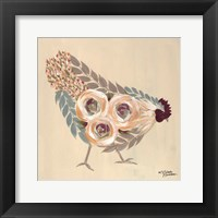 Framed Floral Hen Blue and Yellow