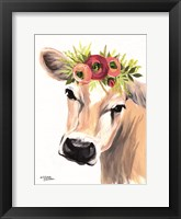 Framed Jersey Cow with Floral Crown