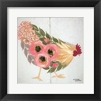 Framed Floral Hen on White