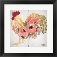Framed Floral Rooster on White