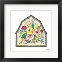 Framed Floral Barn