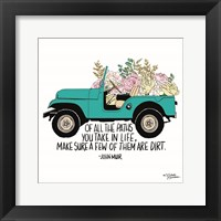 Framed Floral Jeep