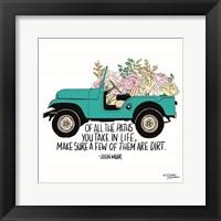 Framed Floral Jeep