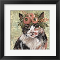 Framed Cat with Floral Crown