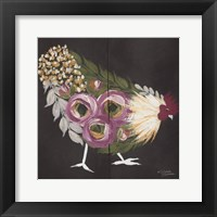 Framed Floral Hen on Black