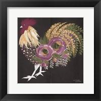 Framed Floral Rooster on Black