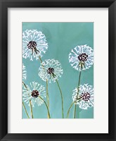 Framed Dandelions on Aqua