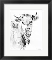 Framed Village Cow Gray