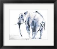 Framed Lone Elephant Blue Gray Crop