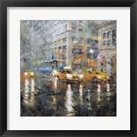 Framed Manhattan Orange Rain