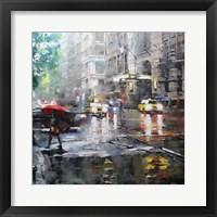 Framed Manhattan Red Umbrella