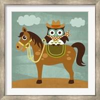 Framed Cowboy Owl on Horse