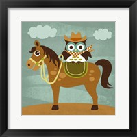 Framed Cowboy Owl on Horse