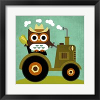Framed Owl on Tractor
