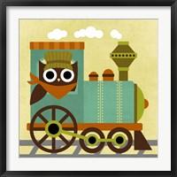 Framed Owl Train Conductor