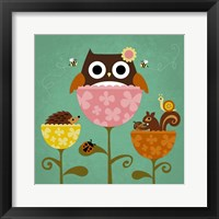 Framed Owl, Squirrel and Hedgehog in Flowers