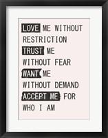 Framed Love Me 1