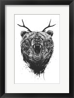 Framed Angry Bear With Antlers