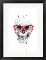 Framed Skull With Red Glasses